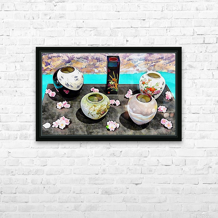 Japanese Vase Display HD Sublimation Metal print with Decorating Float Frame (BOX)