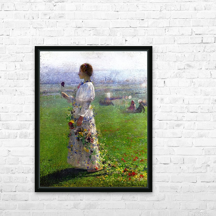 Young Woman Walking by the Field HD Sublimation Metal print with Decorating Float Frame (BOX)