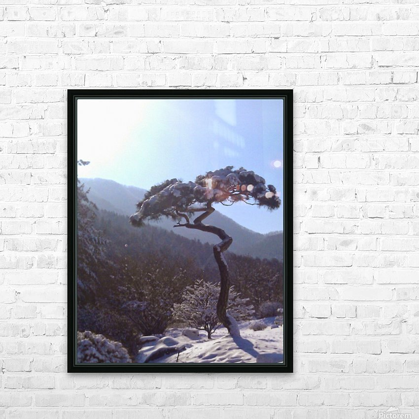 Tree in Snow HD Sublimation Metal print with Decorating Float Frame (BOX)