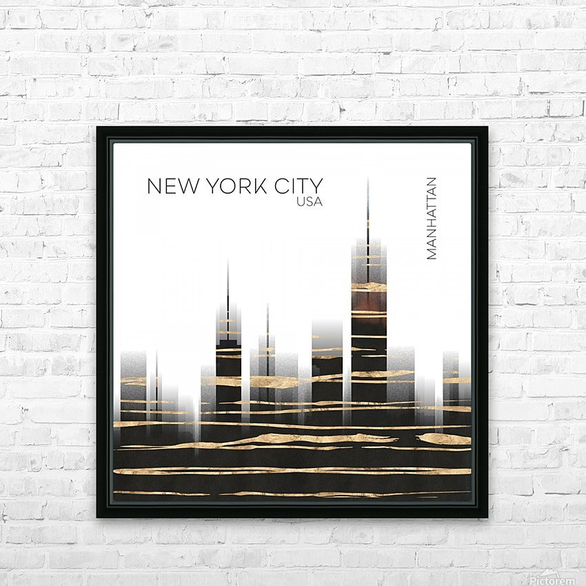 Urban Art NYC Skyline HD Sublimation Metal print with Decorating Float Frame (BOX)