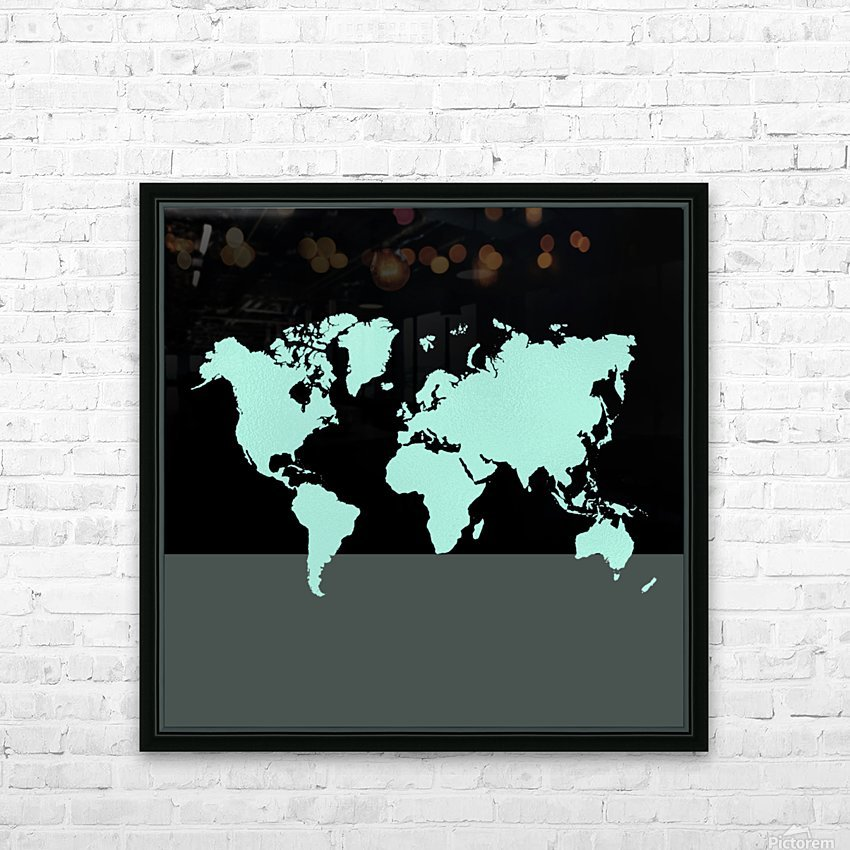 TURQUOISE SHADE WORLD MAP HD Sublimation Metal print with Decorating Float Frame (BOX)