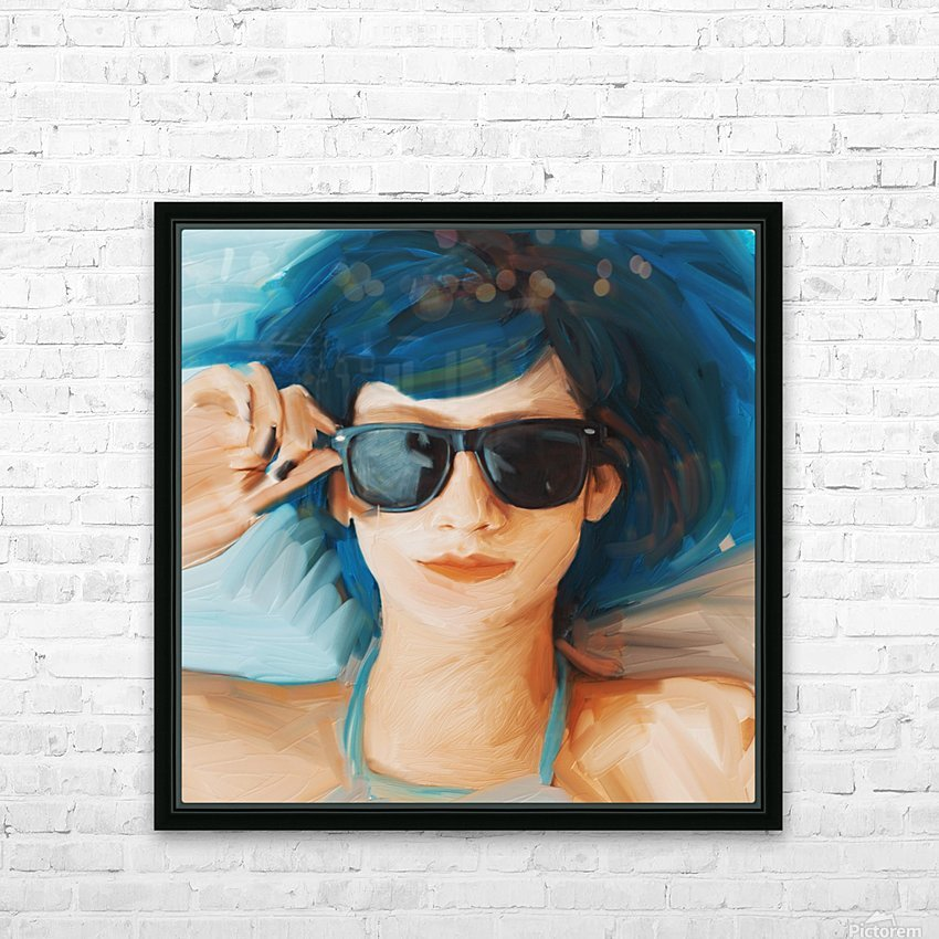 Blue Hair HD Sublimation Metal print with Decorating Float Frame (BOX)