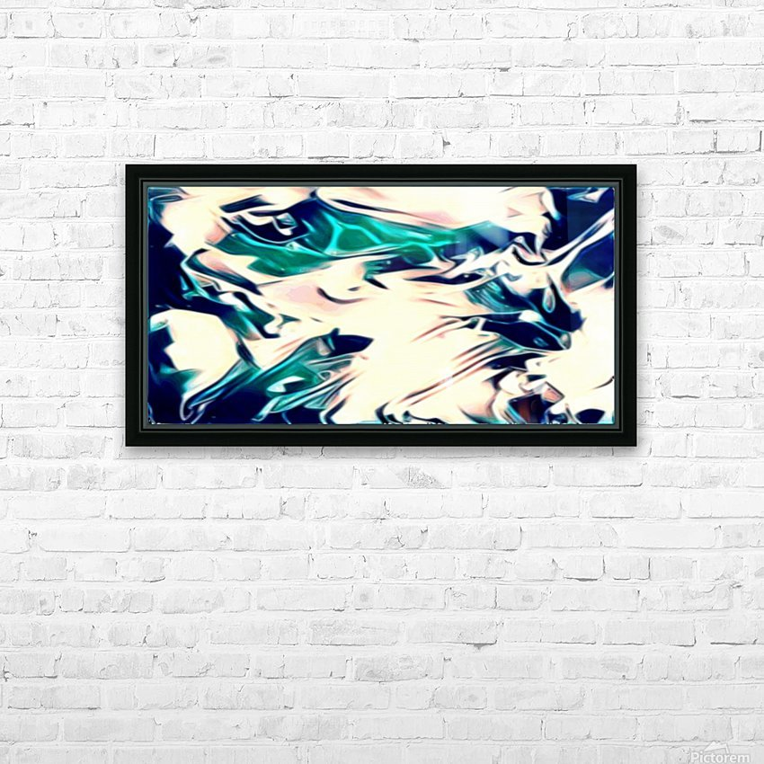 Crystal Spine - green white blue multicolor abstract swirl wall art HD Sublimation Metal print with Decorating Float Frame (BOX)