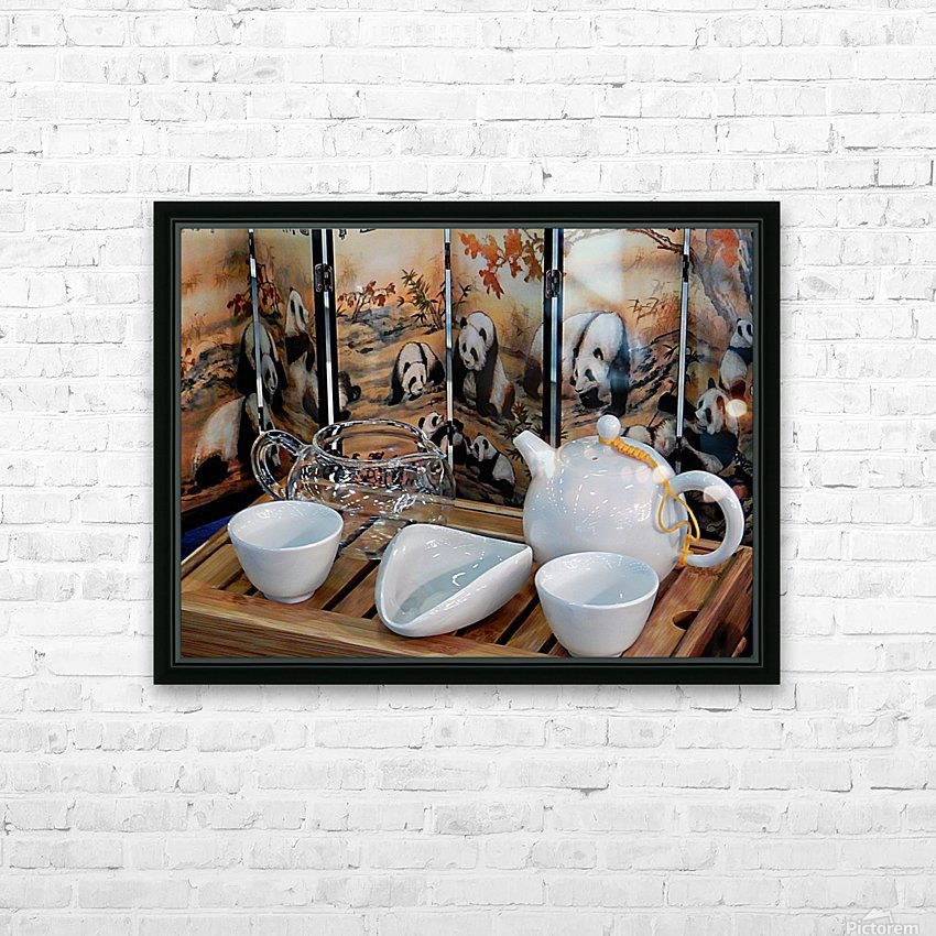 Chinese Tea Ceremony Set With Pandas HD Sublimation Metal print with Decorating Float Frame (BOX)