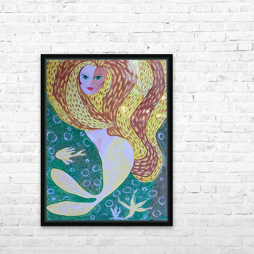 Mermaid Underwater  HD Sublimation Metal print with Decorating Float Frame (BOX)