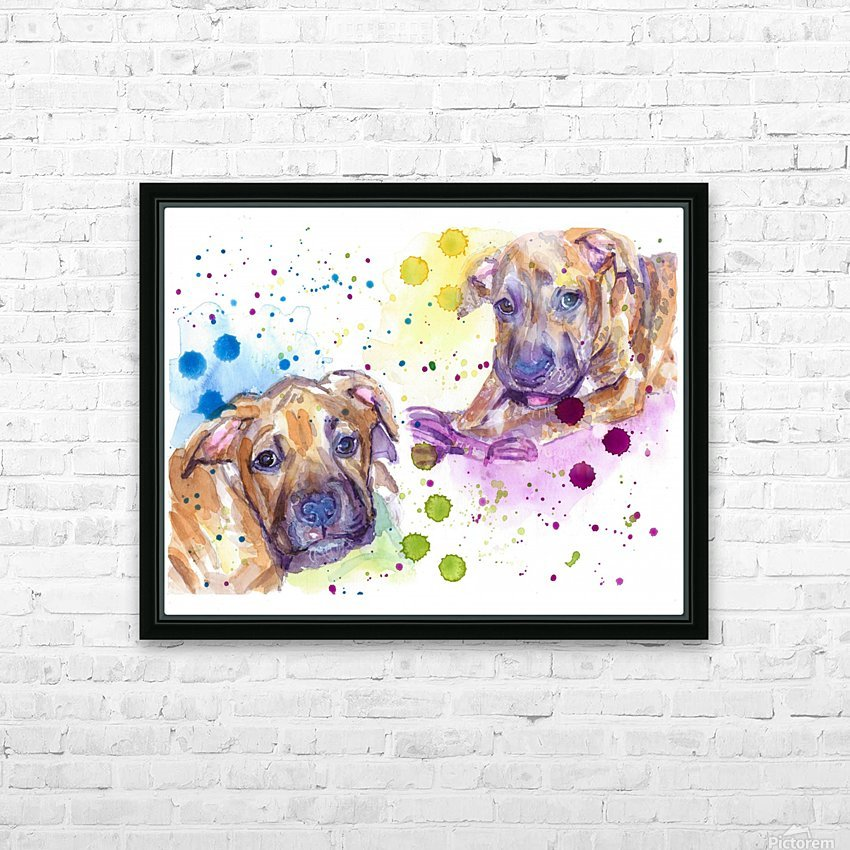 2 Colorful Dogs Brindle - Portrait of Emma and Louis HD Sublimation Metal print with Decorating Float Frame (BOX)