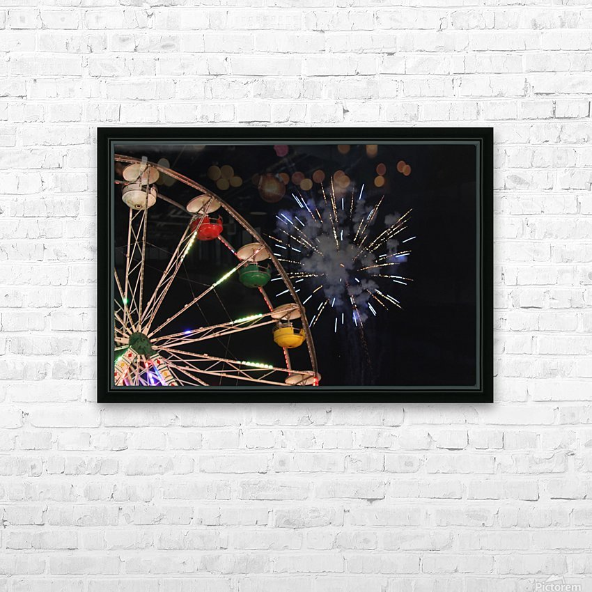 Ferris Wheel and Fireworks HD Sublimation Metal print with Decorating Float Frame (BOX)