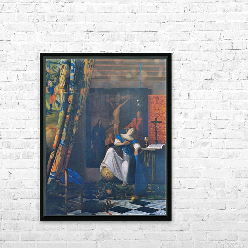 Allegory of Faith by Vermeer HD Sublimation Metal print with Decorating Float Frame (BOX)