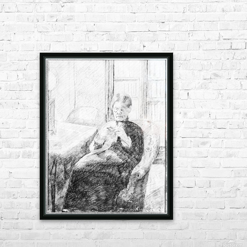 An old woman knitting by Cassatt HD Sublimation Metal print with Decorating Float Frame (BOX)