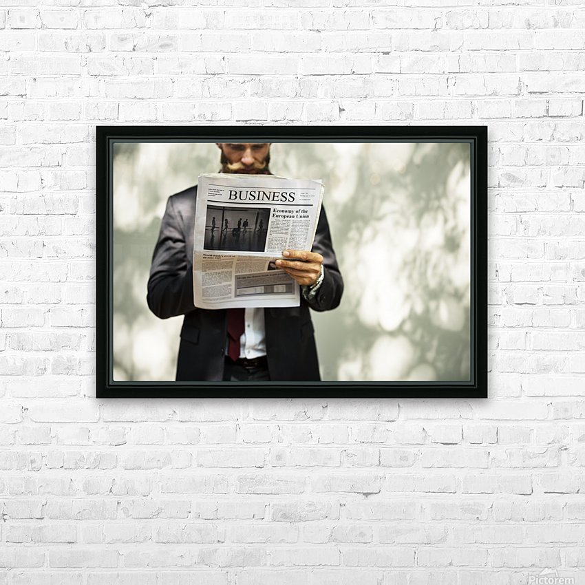 A bearded man reading the business section of a newspaper HD Sublimation Metal print with Decorating Float Frame (BOX)