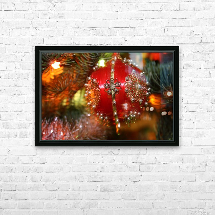Festive Christmas holiday background with Santa Claus presents and tree. HD Sublimation Metal print with Decorating Float Frame (BOX)
