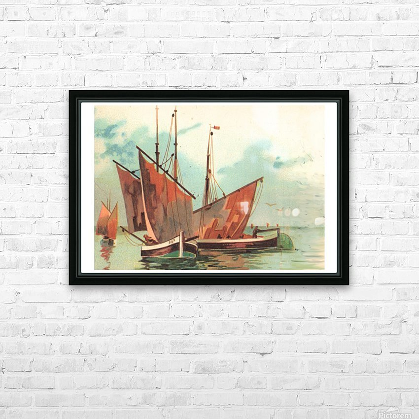 Greeting card Sailing boats HD Sublimation Metal print with Decorating Float Frame (BOX)