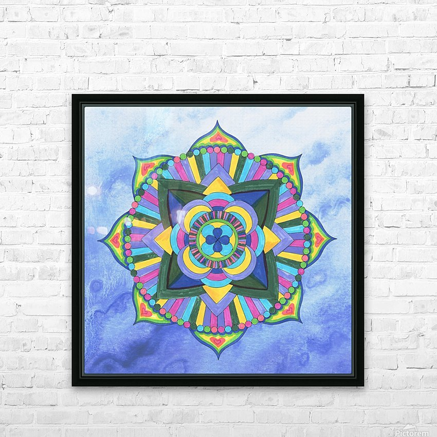 Hand Painted Mandala Watercolor Meditation on Blue HD Sublimation Metal print with Decorating Float Frame (BOX)