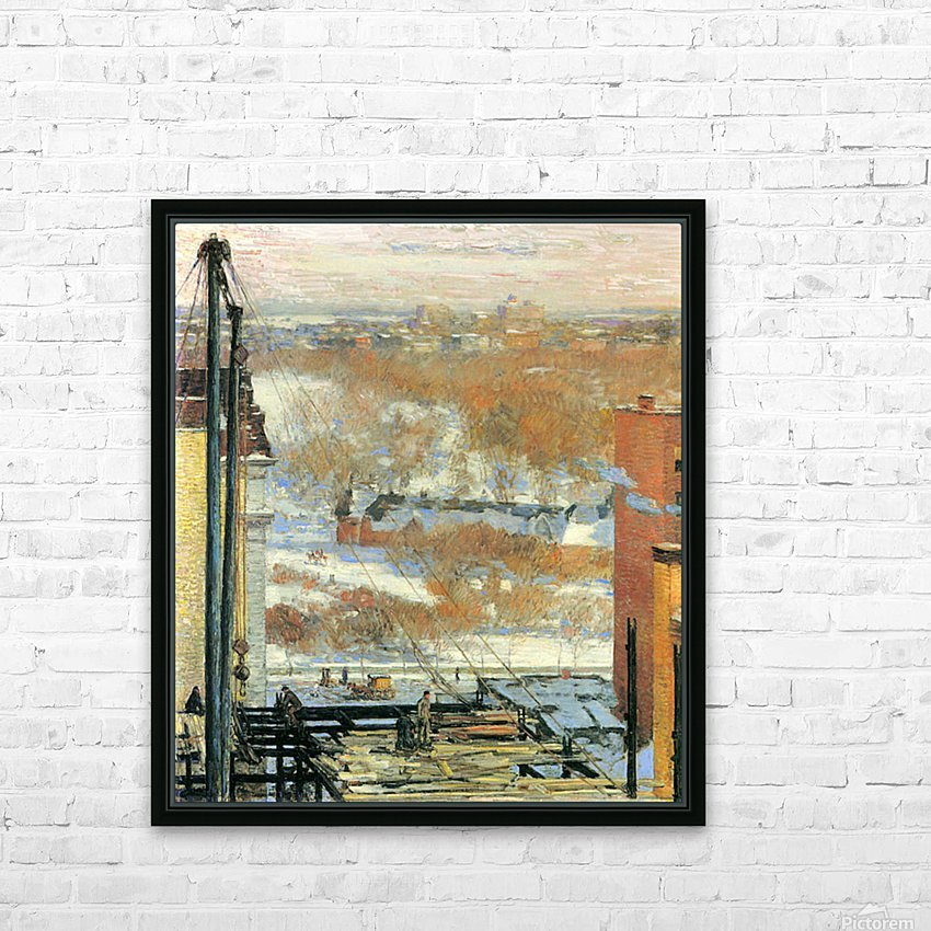 The hut and the skyscrapers by Hassam HD Sublimation Metal print with Decorating Float Frame (BOX)