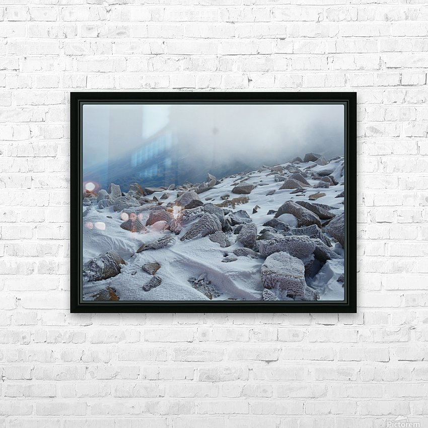 Mountainside with Snow-covered Rocks HD Sublimation Metal print with Decorating Float Frame (BOX)