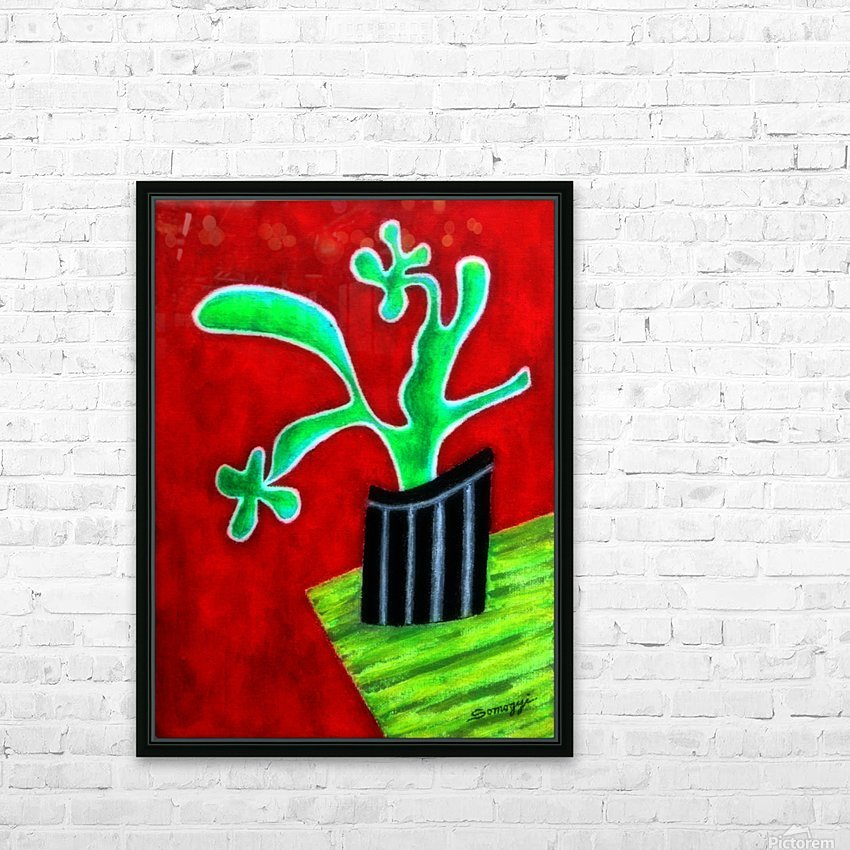 Cactus on Green Table HD Sublimation Metal print with Decorating Float Frame (BOX)