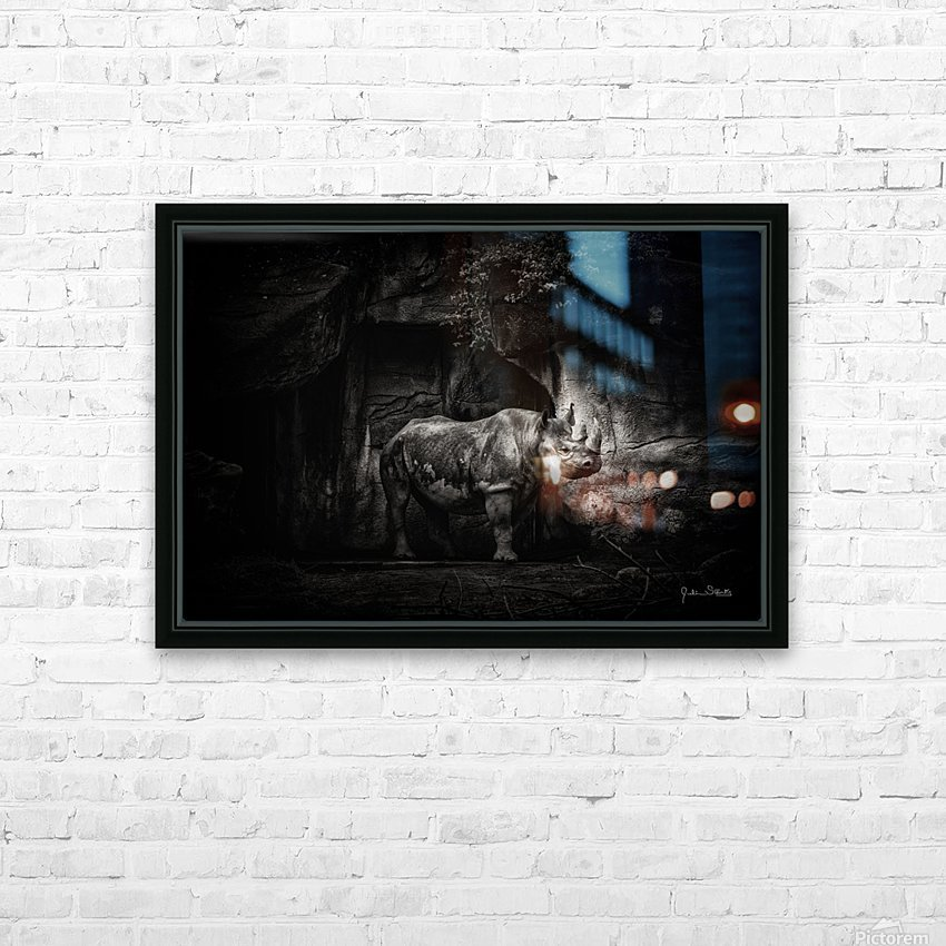 Rhino in Black & White HD Sublimation Metal print with Decorating Float Frame (BOX)