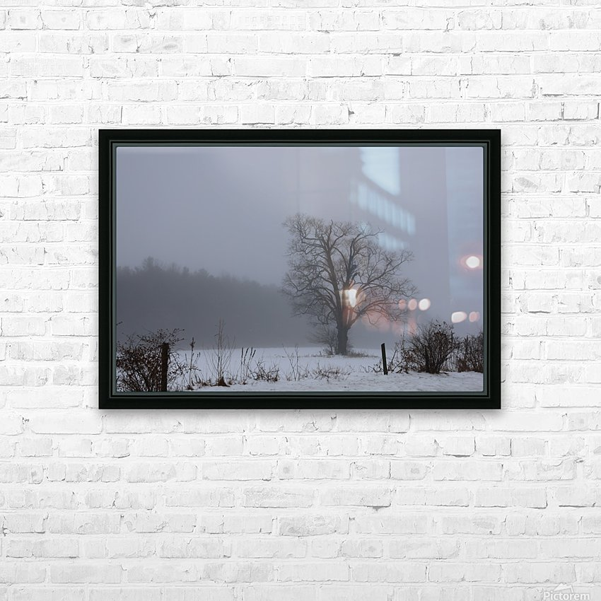 Tree in the Mist HD Sublimation Metal print with Decorating Float Frame (BOX)