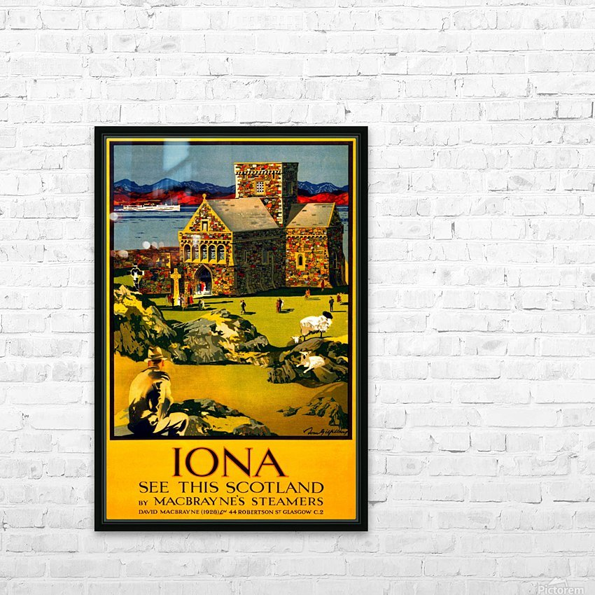 Vintage Travel - Iona Scotland HD Sublimation Metal print with Decorating Float Frame (BOX)