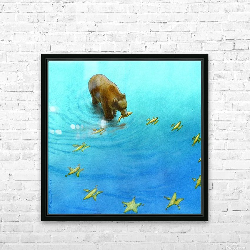 gold fishes HD Sublimation Metal print with Decorating Float Frame (BOX)