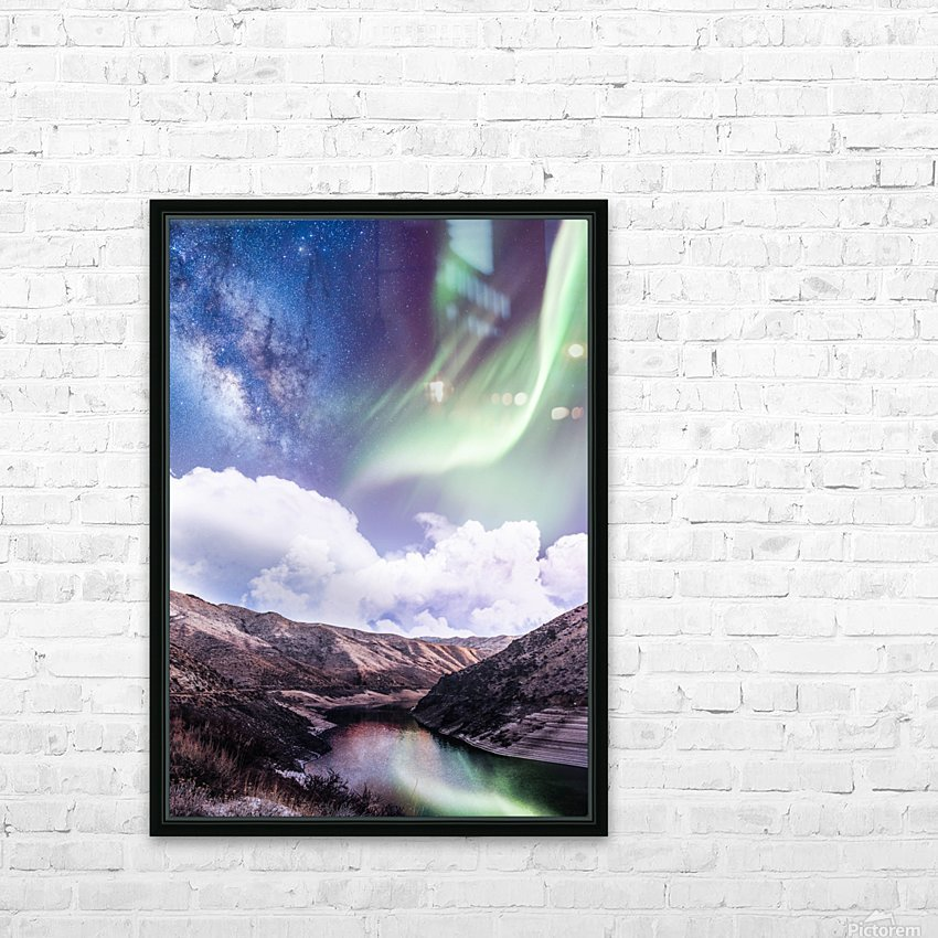Aurora Borealis And Milky Way HD Sublimation Metal print with Decorating Float Frame (BOX)