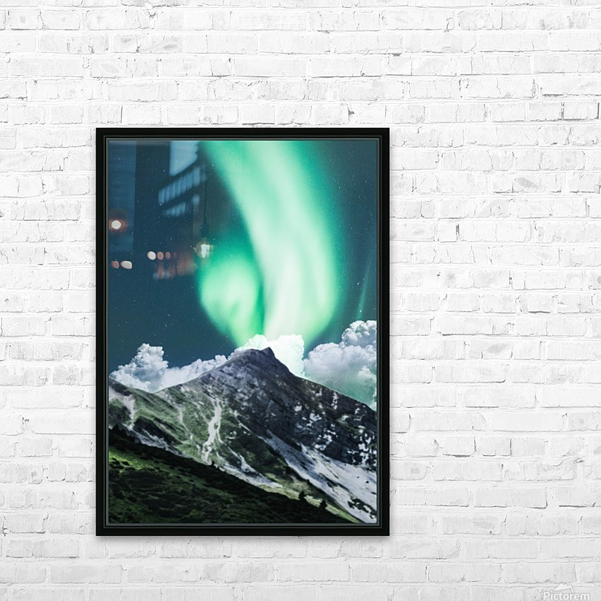 Aurora Borealis Over The Mountain HD Sublimation Metal print with Decorating Float Frame (BOX)