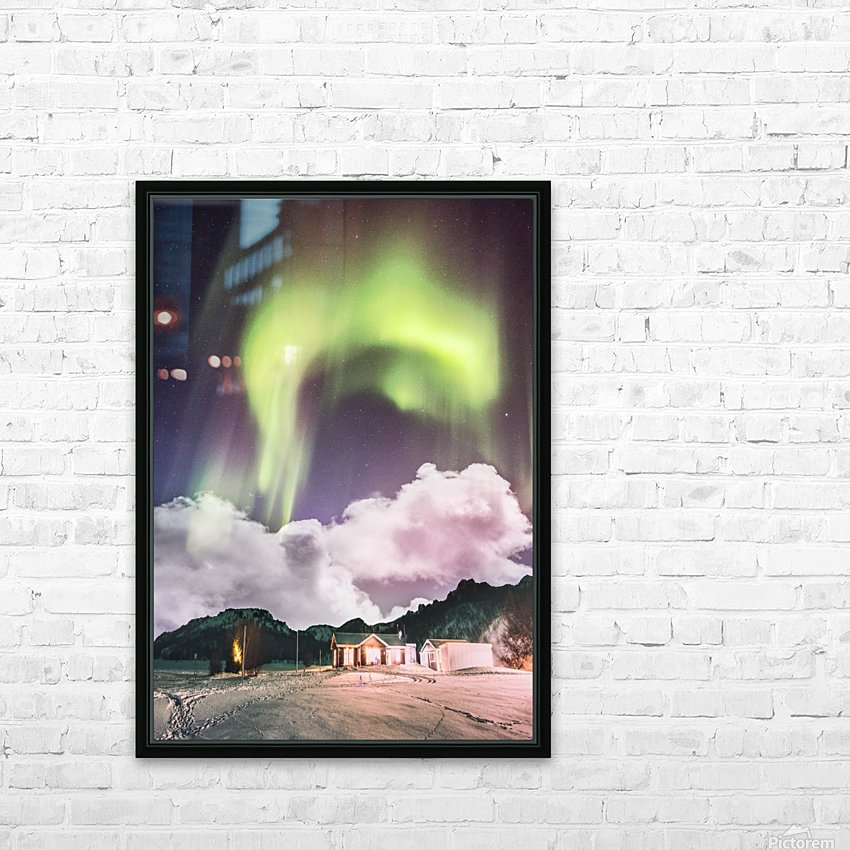 Aurora In The Winter HD Sublimation Metal print with Decorating Float Frame (BOX)