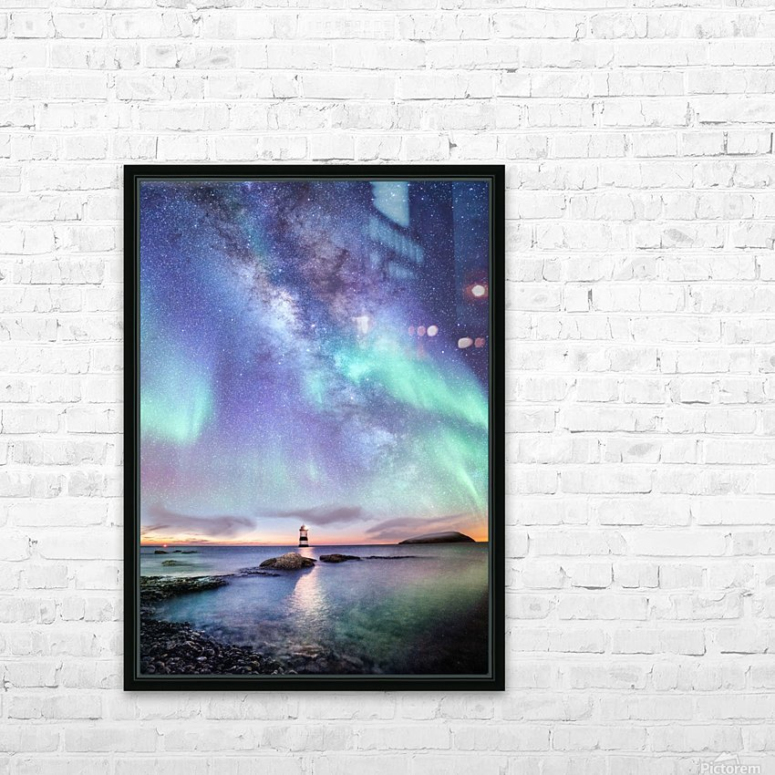Aurora And Milky Way  HD Sublimation Metal print with Decorating Float Frame (BOX)