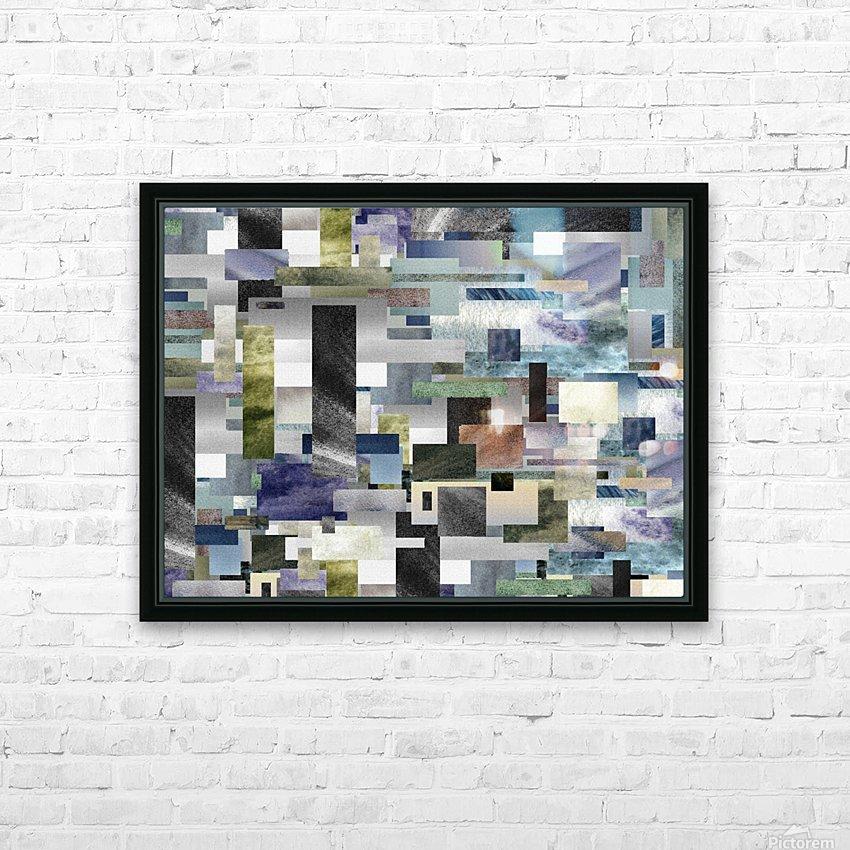 Gray Geometry Watercolor Geometrics Decorative Blocks XIV HD Sublimation Metal print with Decorating Float Frame (BOX)