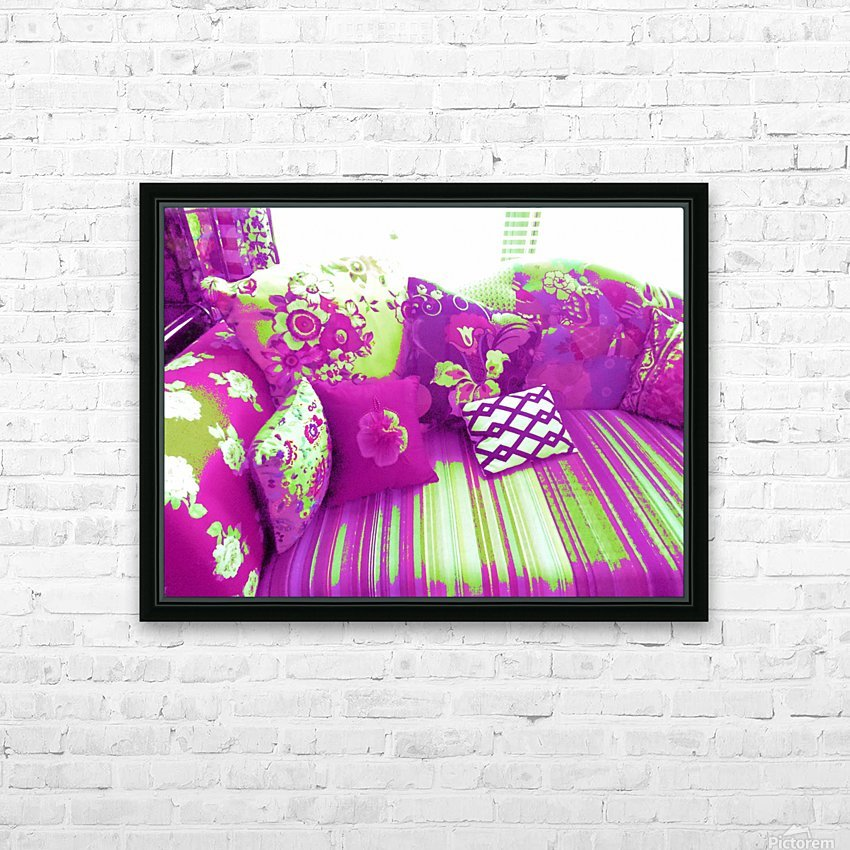 Sofa & Pillows -- Purple & Green HD Sublimation Metal print with Decorating Float Frame (BOX)
