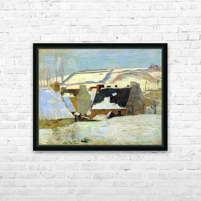 Breton Village in Snow by Gauguin HD Sublimation Metal print with Decorating Float Frame (BOX)