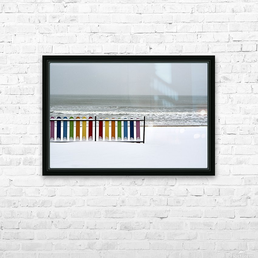 Winter beach HD Sublimation Metal print with Decorating Float Frame (BOX)