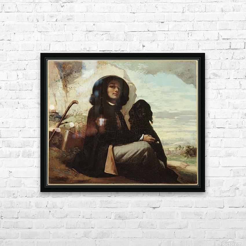 Autoportrait dit Courbet au chien noir HD sublimation métal imprimé avec décoration flotteur cadre (boîte)