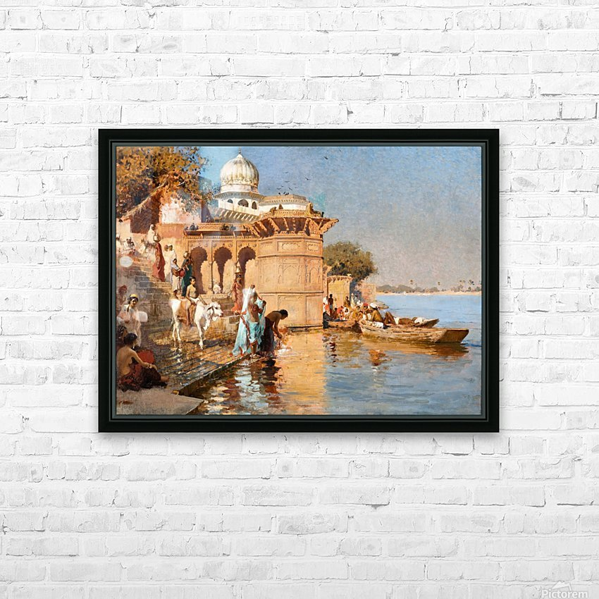 Along the Ghats, Mathura HD Sublimation Metal print with Decorating Float Frame (BOX)