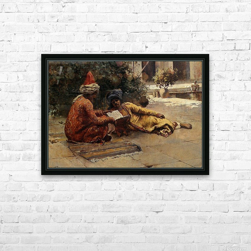 Two Arabs Reading HD Sublimation Metal print with Decorating Float Frame (BOX)