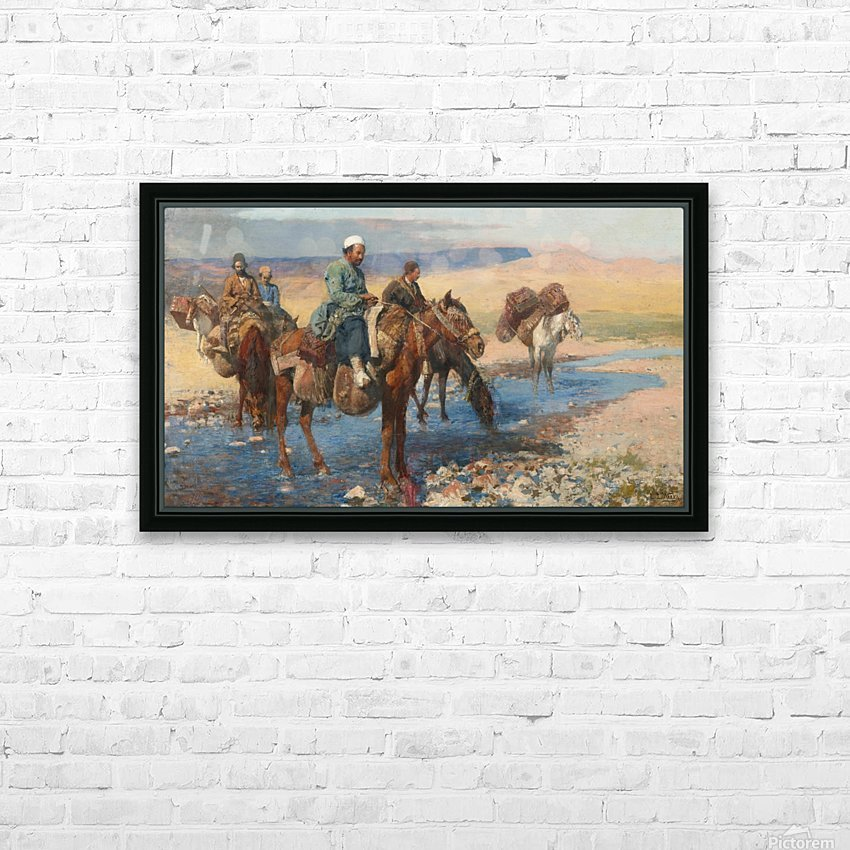 Horses at the Ford-Persia HD Sublimation Metal print with Decorating Float Frame (BOX)