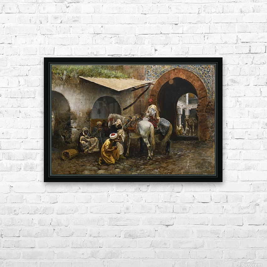 Horse care in oriental market HD Sublimation Metal print with Decorating Float Frame (BOX)