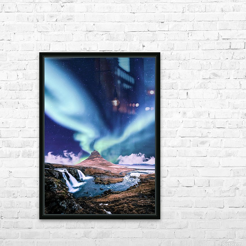 Aurora Polaris And The River HD Sublimation Metal print with Decorating Float Frame (BOX)