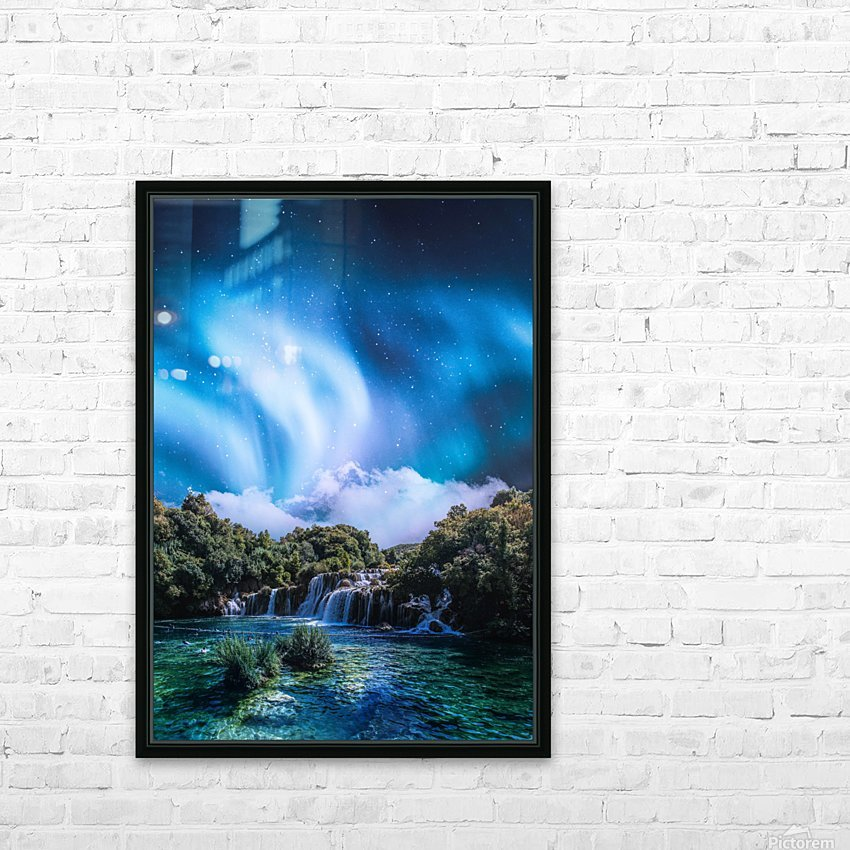 Aurora Polaris Over The Waterfall HD Sublimation Metal print with Decorating Float Frame (BOX)