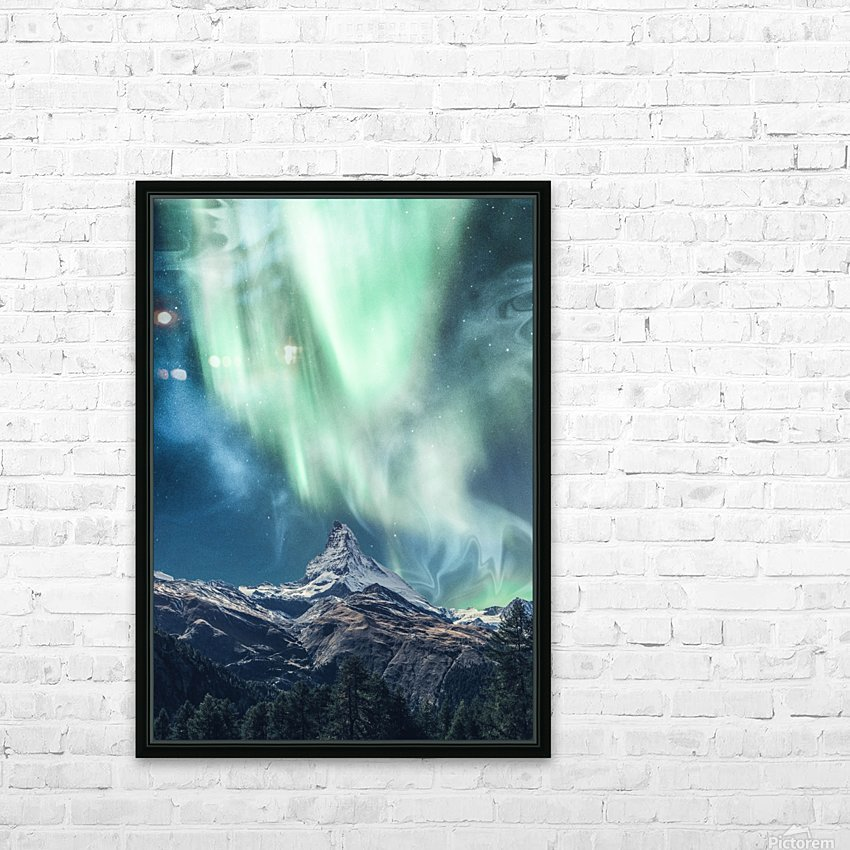 Aurora Polaris Over The Peak At Night HD Sublimation Metal print with Decorating Float Frame (BOX)