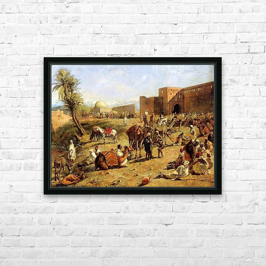 Arrival of a caravan outside the city of Morocco HD Sublimation Metal print with Decorating Float Frame (BOX)