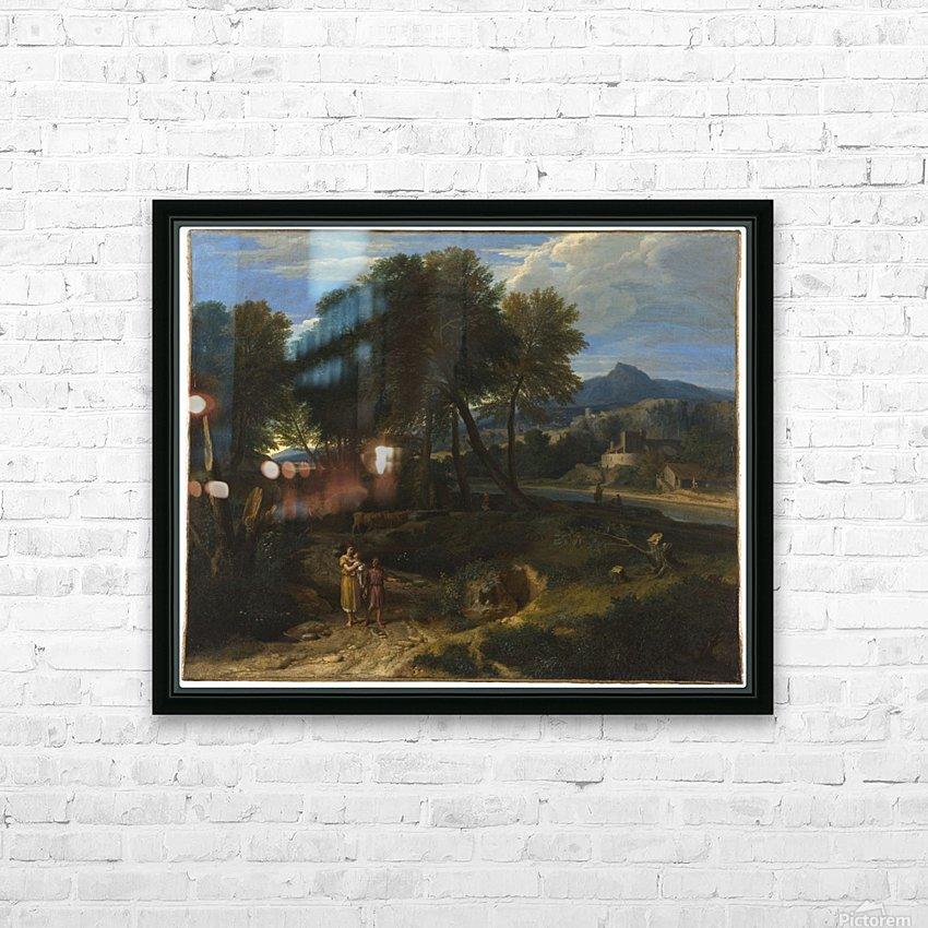 Pastorale avec un jeune patre et une femme avec un enfant dans les bras HD Sublimation Metal print with Decorating Float Frame (BOX)