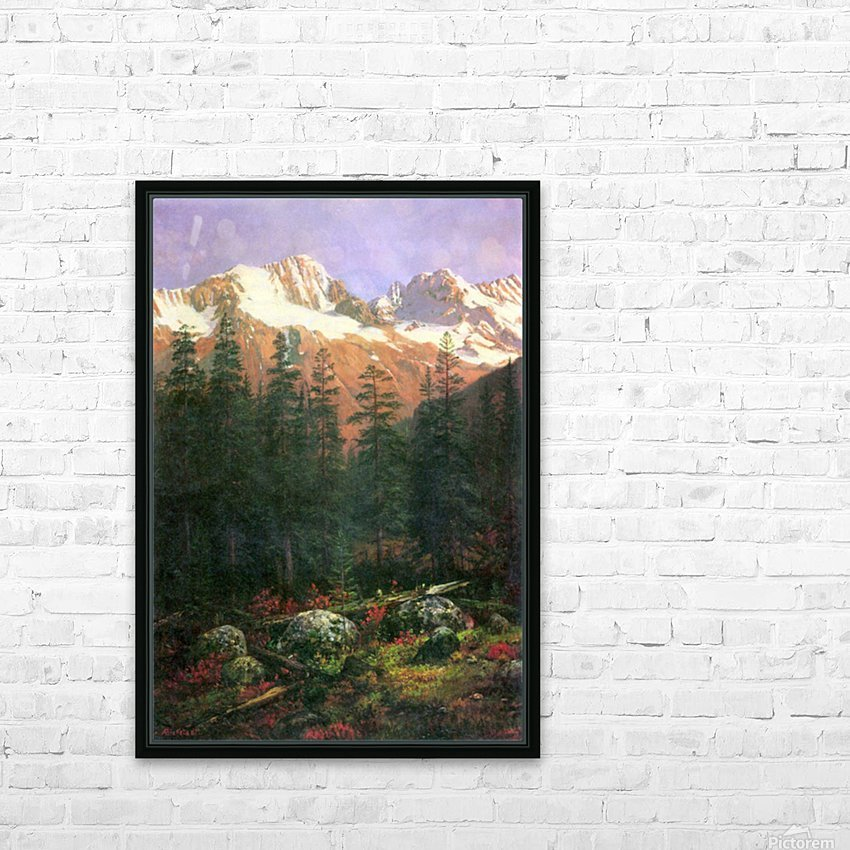 Canadian Rockies by Bierstadt HD Sublimation Metal print with Decorating Float Frame (BOX)