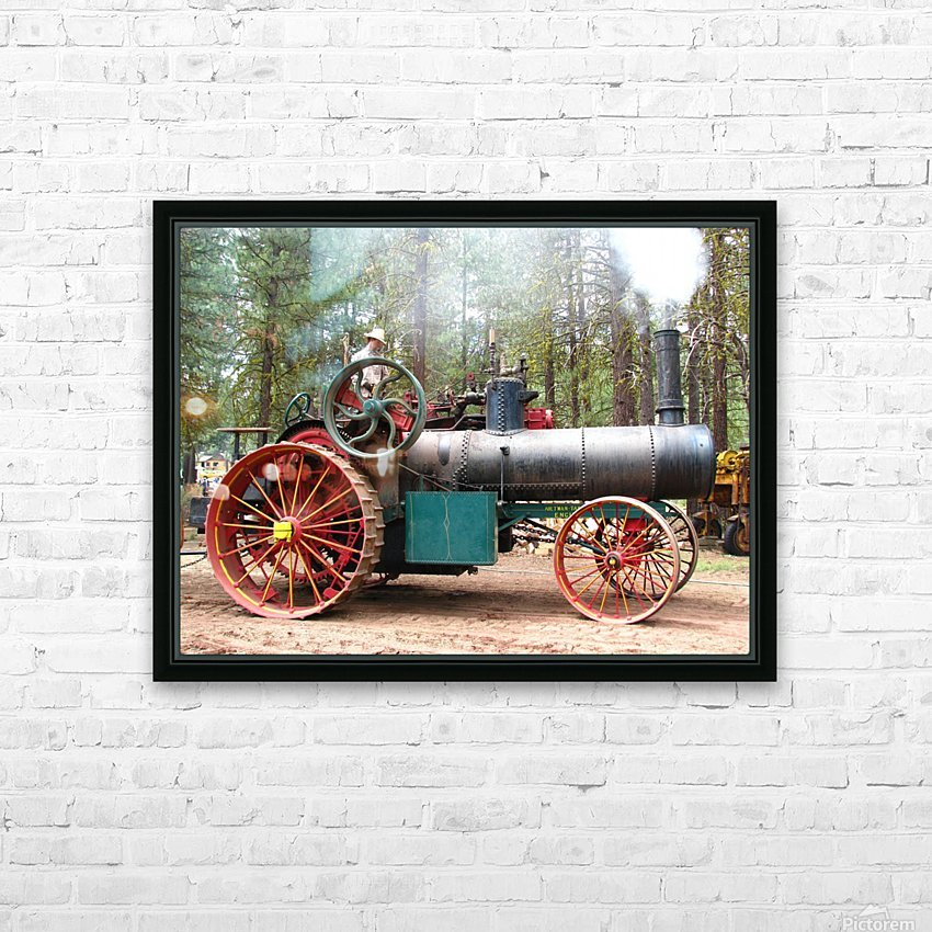 Logging Steam Tractor HD Sublimation Metal print with Decorating Float Frame (BOX)