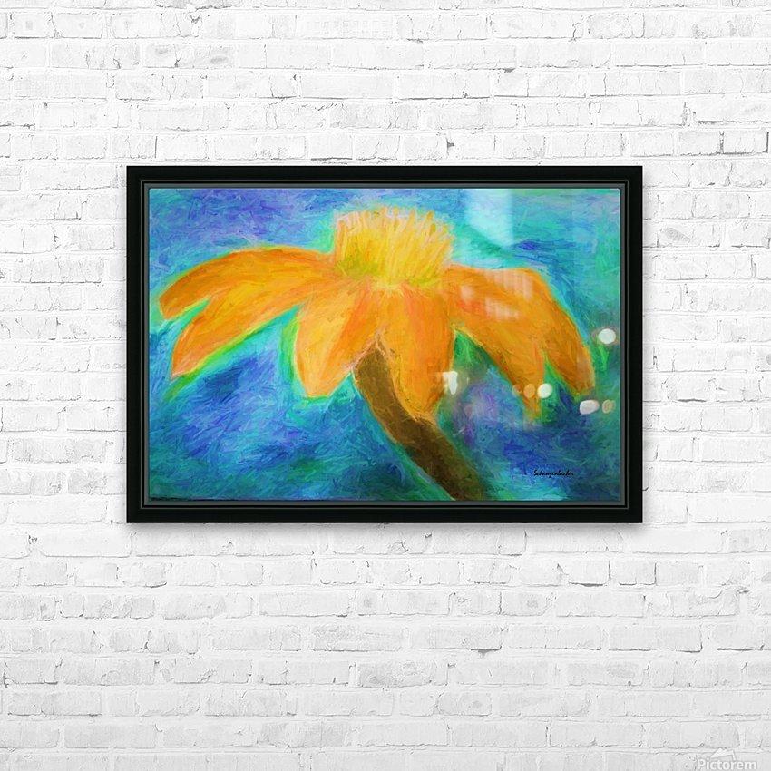 Orange flower HD Sublimation Metal print with Decorating Float Frame (BOX)