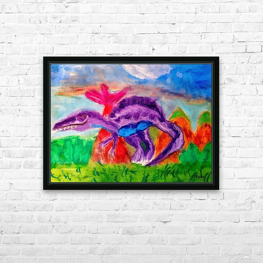 Dinosaur drawn by 5 year old HD Sublimation Metal print with Decorating Float Frame (BOX)