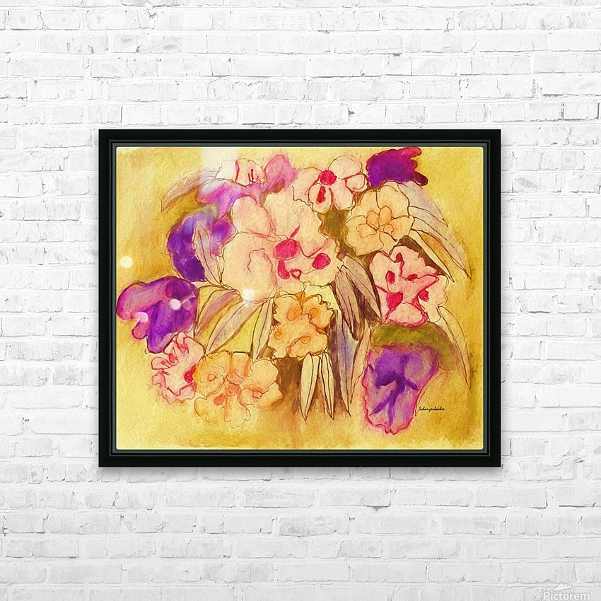 Floral pansies HD Sublimation Metal print with Decorating Float Frame (BOX)