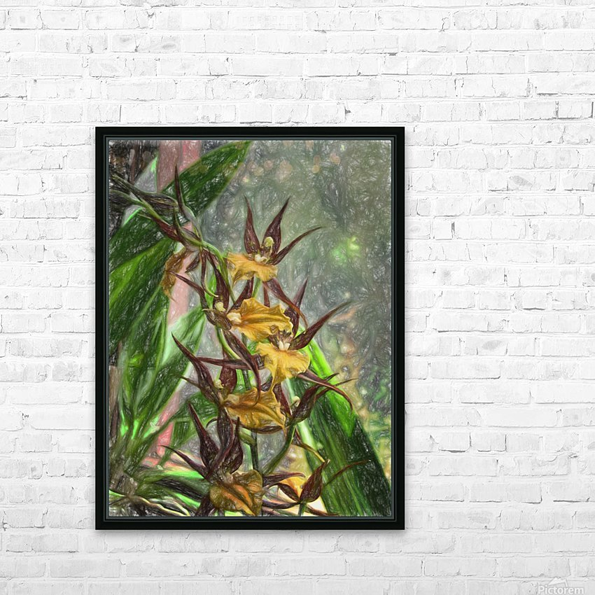 Hawaiian Orchids Color Pencil  HD Sublimation Metal print with Decorating Float Frame (BOX)