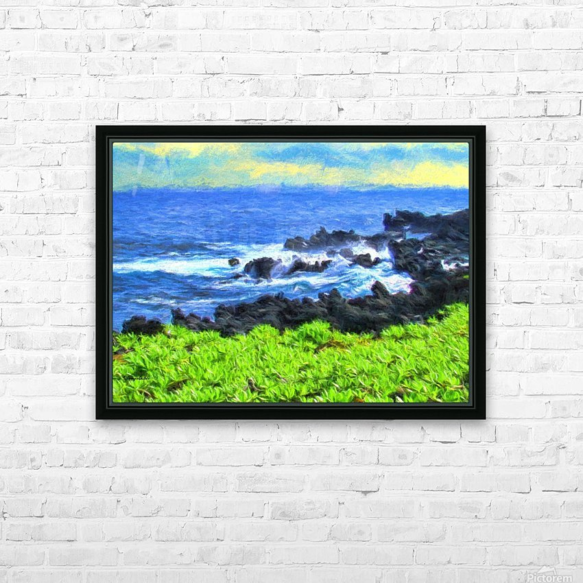 Hana Beach Hawaii Watercolor HD Sublimation Metal print with Decorating Float Frame (BOX)