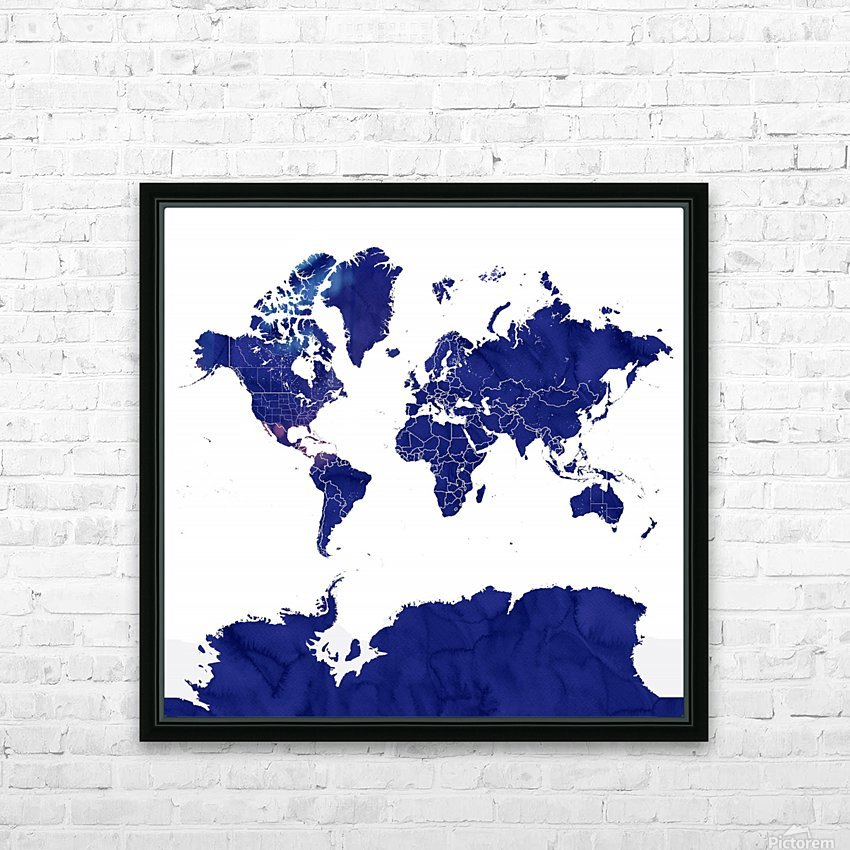 navy blue world map with outlined countries HD Sublimation Metal print with Decorating Float Frame (BOX)